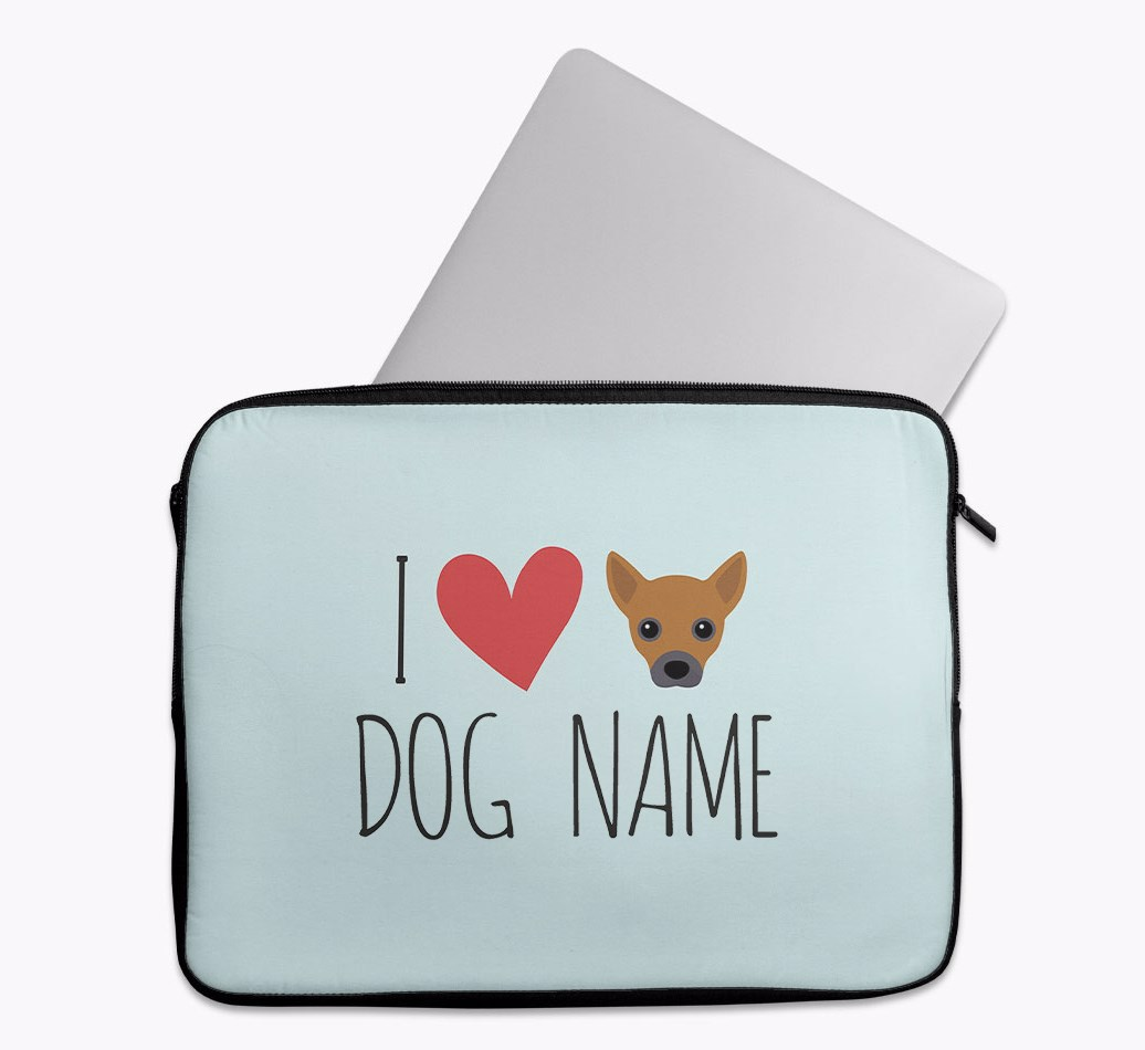 Personalised 'I Heart {dogsName}' Tech Pouch with Jackahuahua Yappicon