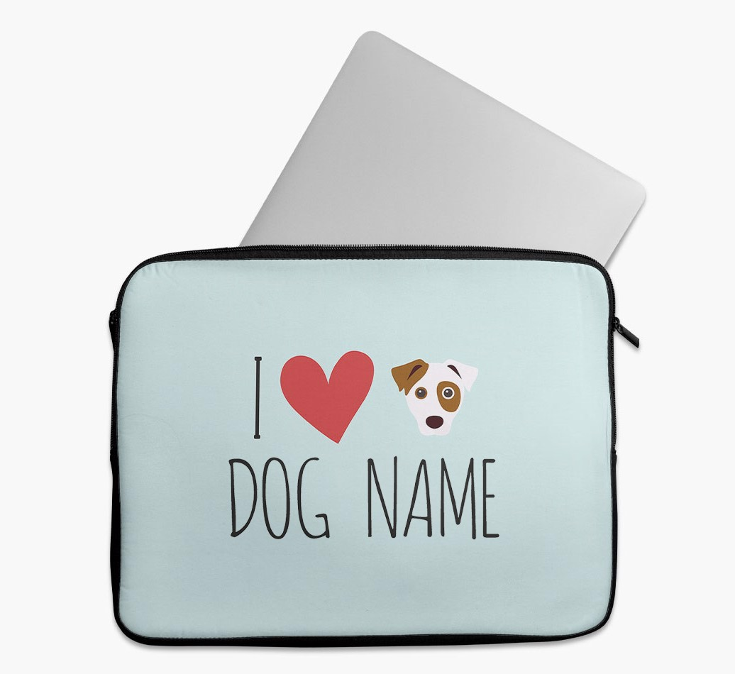 Personalised 'I Heart {dogsName}' Tech Pouch with Dog Yappicon