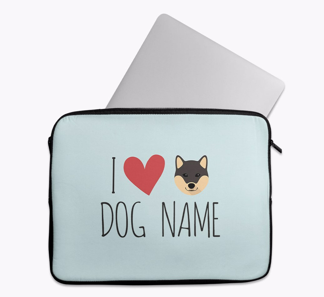 Personalised 'I Heart {dogsName}' Tech Pouch with Japanese Shiba Yappicon