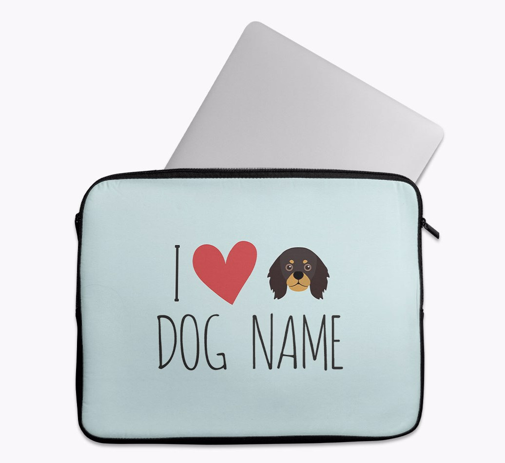Personalised 'I Heart {dogsName}' Tech Pouch with King Charles Spaniel Yappicon