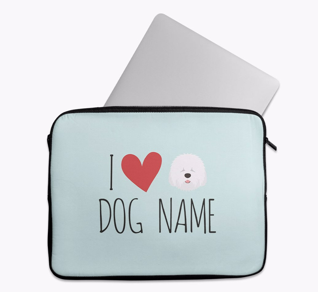 Personalised 'I Heart {dogsName}' Tech Pouch with Old English Sheepdog Yappicon