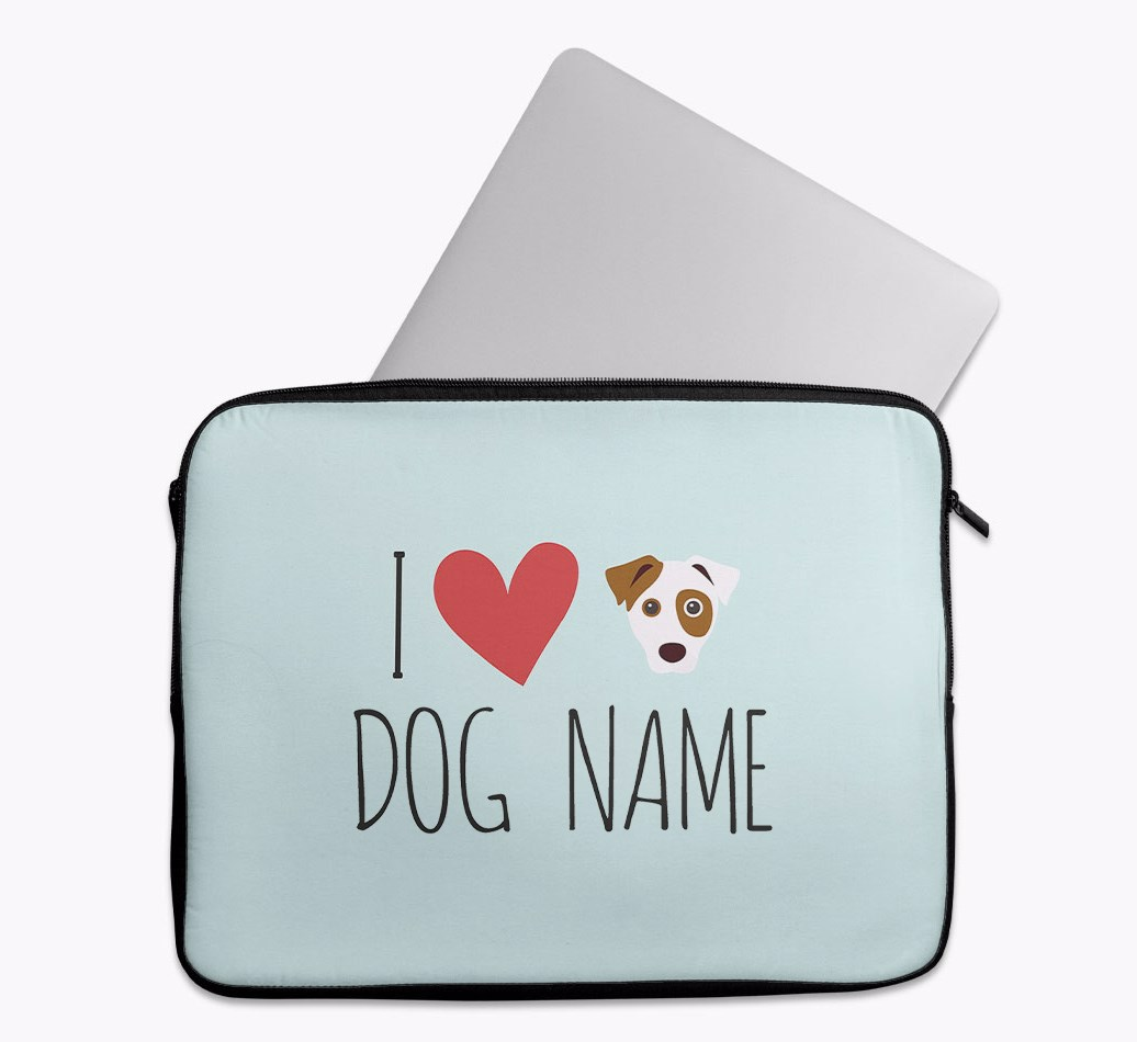 Personalised 'I Heart {dogsName}' Tech Pouch with Parson Russell Terrier Yappicon
