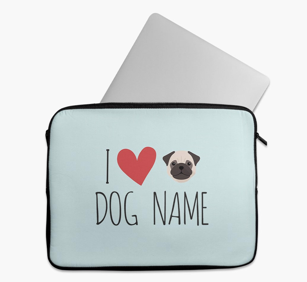 Personalised 'I Heart {dogsName}' Tech Pouch with Pug Yappicon