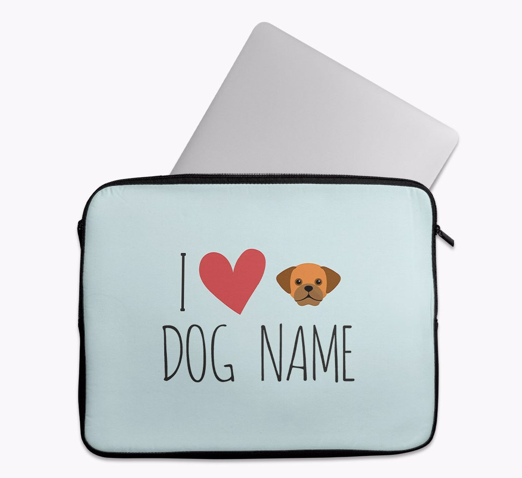 Personalised 'I Heart {dogsName}' Tech Pouch with Puggle Yappicon