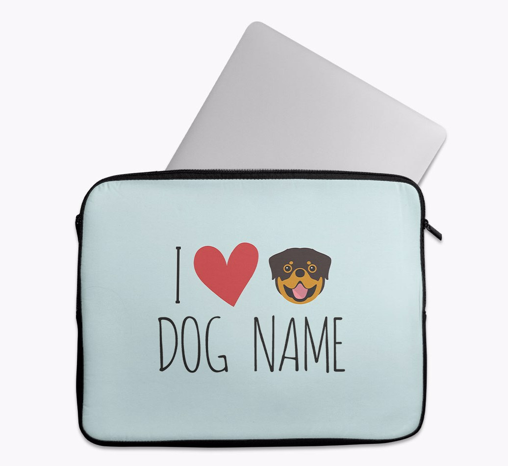 Personalised 'I Heart {dogsName}' Tech Pouch with Rottweiler Yappicon