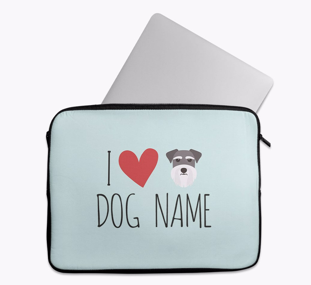 Personalised 'I Heart {dogsName}' Tech Pouch with Schnauzer Yappicon