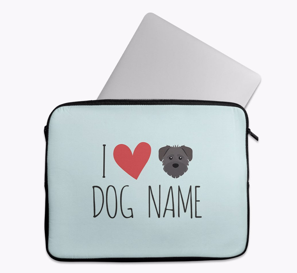 Personalised 'I Heart {dogsName}' Tech Pouch with Schnoodle Yappicon