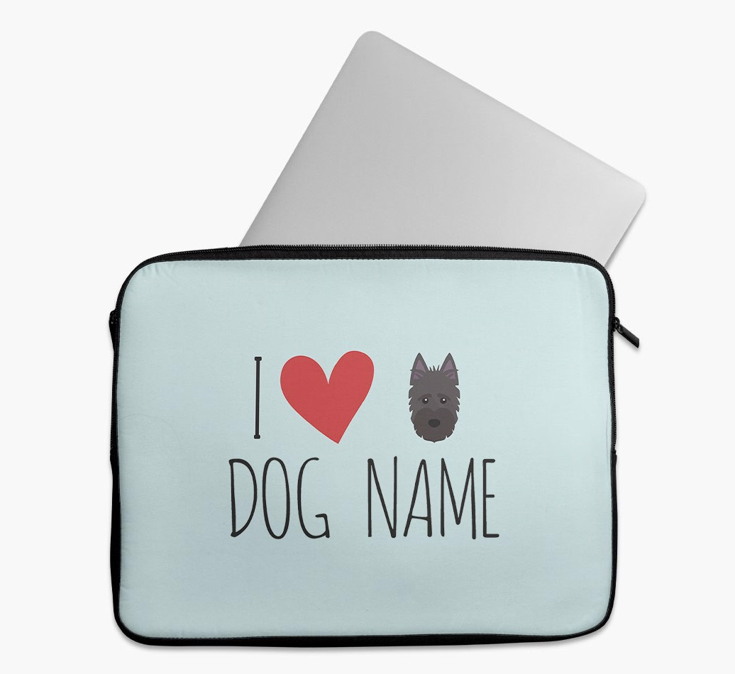 Personalised 'I Heart {dogsName}' Tech Pouch with Scottish Terrier Yappicon