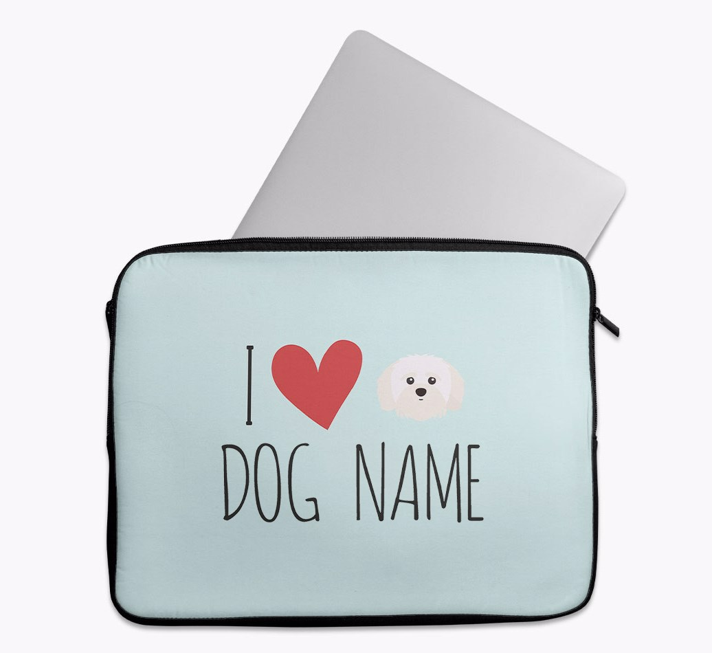 Personalised 'I Heart {dogsName}' Tech Pouch with Shih-poo Yappicon