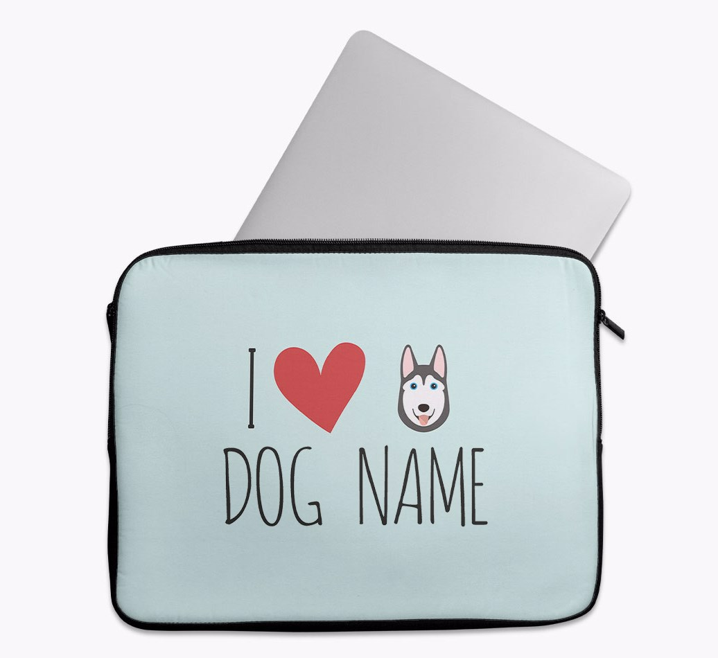 Personalised 'I Heart {dogsName}' Tech Pouch with Siberian Husky Yappicon