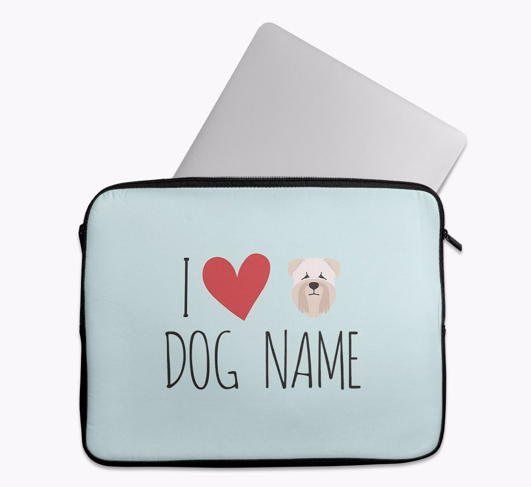 Personalised 'I Heart {dogsName}' Tech Pouch with Soft Coated Wheaten Terrier Yappicon