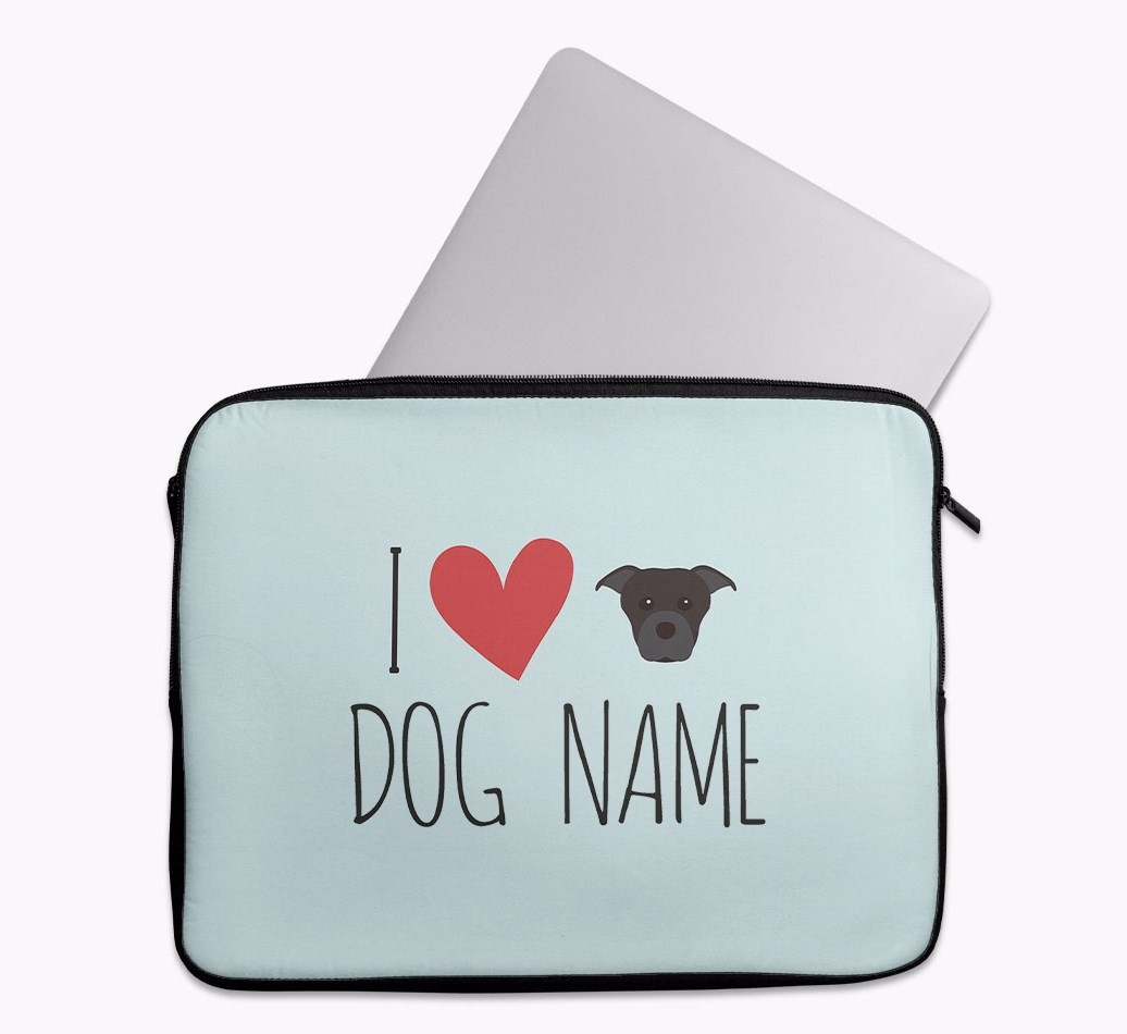 Personalised 'I Heart {dogsName}' Tech Pouch with Staffordshire Bull Terrier Yappicon