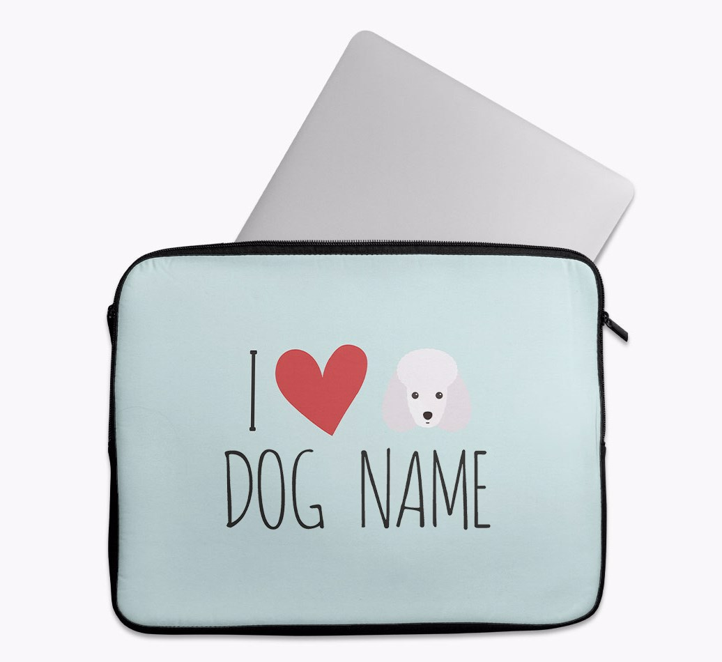 Personalised 'I Heart {dogsName}' Tech Pouch with Toy Poodle Yappicon