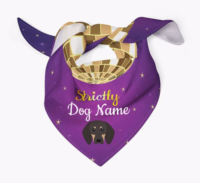 Personalised 'Strictly' Bandana for your Black and Tan Coonhound