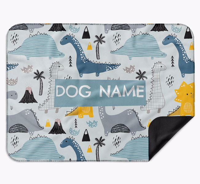 Personalised Dinosaur Print Blanket for your French Bulldog