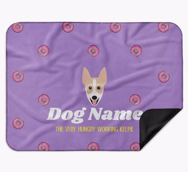 Personalised 'The Very Hungry Australian Working Kelpie' Blanket with Doughnut Print