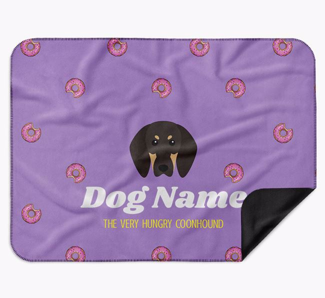 Personalised 'The Very Hungry Black and Tan Coonhound' Blanket with Doughnut Print