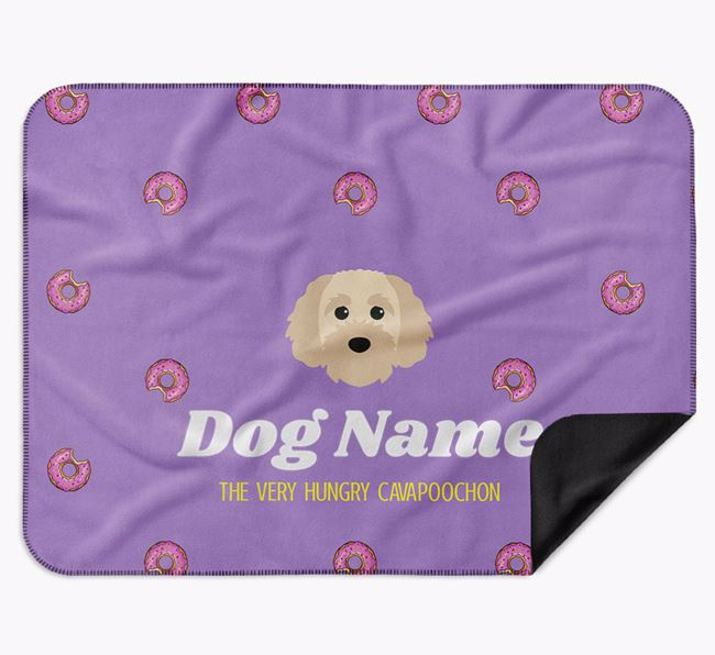 Personalised 'The Very Hungry Cavapoochon' Blanket with Doughnut Print