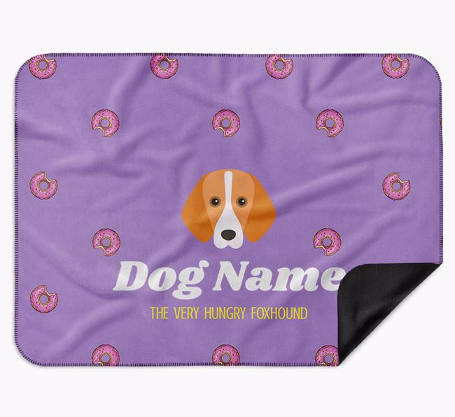 Personalised 'The Very Hungry Foxhound' Blanket with Doughnut Print