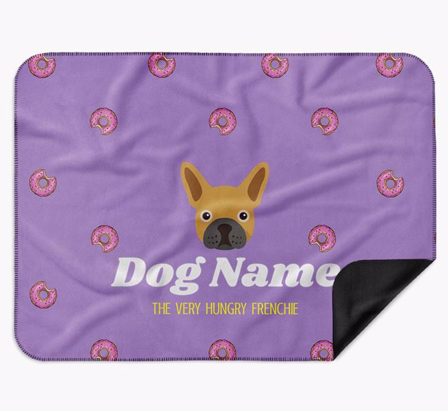 Personalised 'The Very Hungry French Bulldog' Blanket with Doughnut Print