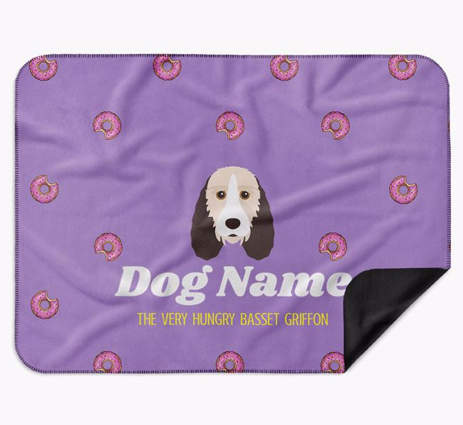 Personalised 'The Very Hungry Grand Basset Griffon Vendeen' Blanket with Doughnut Print