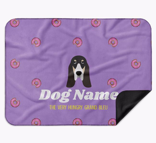 Personalised 'The Very Hungry Grand Bleu De Gascogne' Blanket with Doughnut Print
