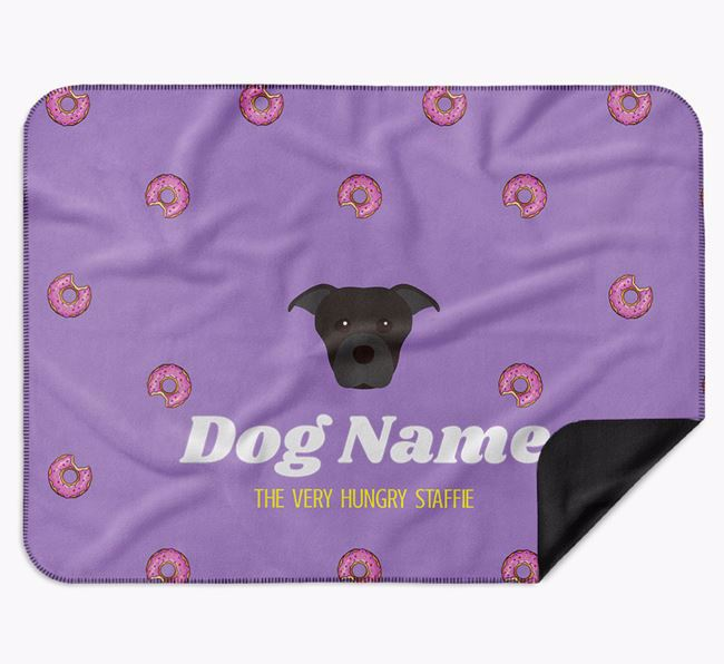 Personalised 'The Very Hungry Dog' Blanket with Doughnut Print