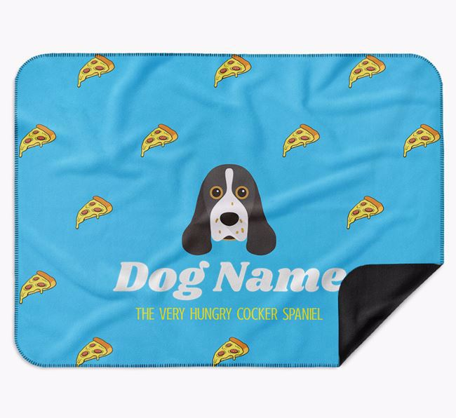 Personalised 'The Very Hungry American Cocker Spaniel' Blanket with Pizza Print