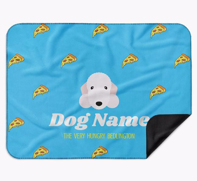 Personalised 'The Very Hungry Bedlington Terrier' Blanket with Pizza Print