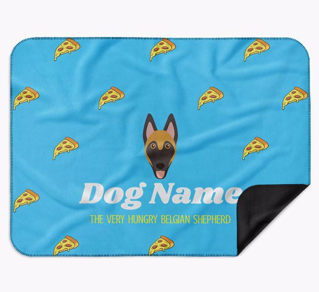 Personalised 'The Very Hungry Belgian Malinois' Blanket with Pizza Print