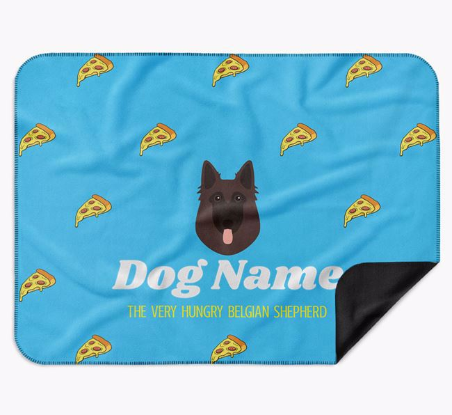 Personalised 'The Very Hungry Belgian Tervuren' Blanket with Pizza Print
