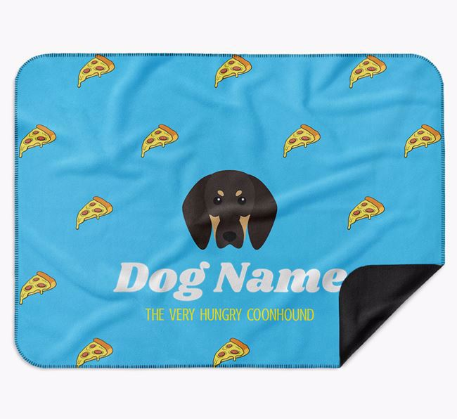 Personalised 'The Very Hungry Black and Tan Coonhound' Blanket with Pizza Print