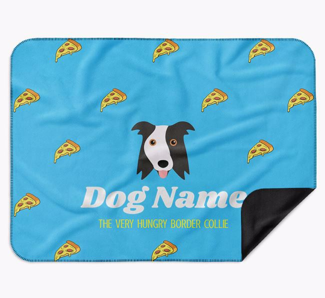Personalised 'The Very Hungry Border Collie' Blanket with Pizza Print