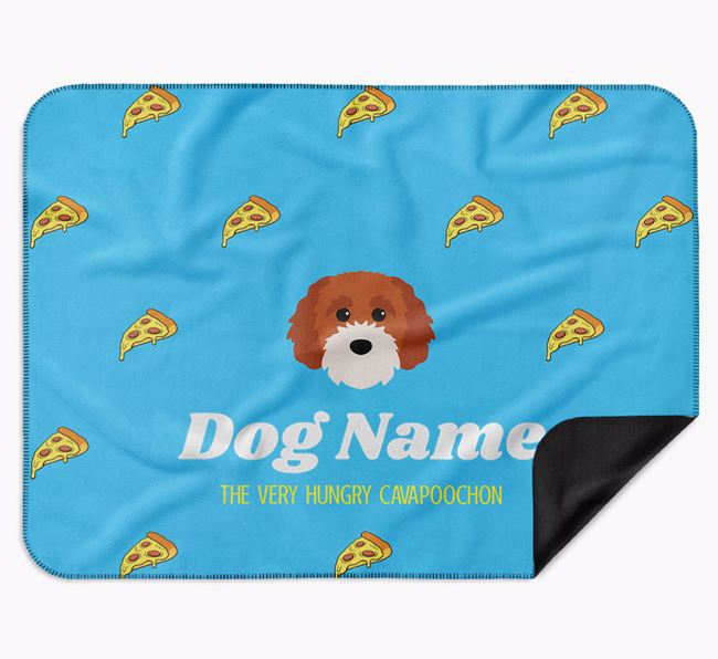Personalised 'The Very Hungry Cavapoochon' Blanket with Pizza Print