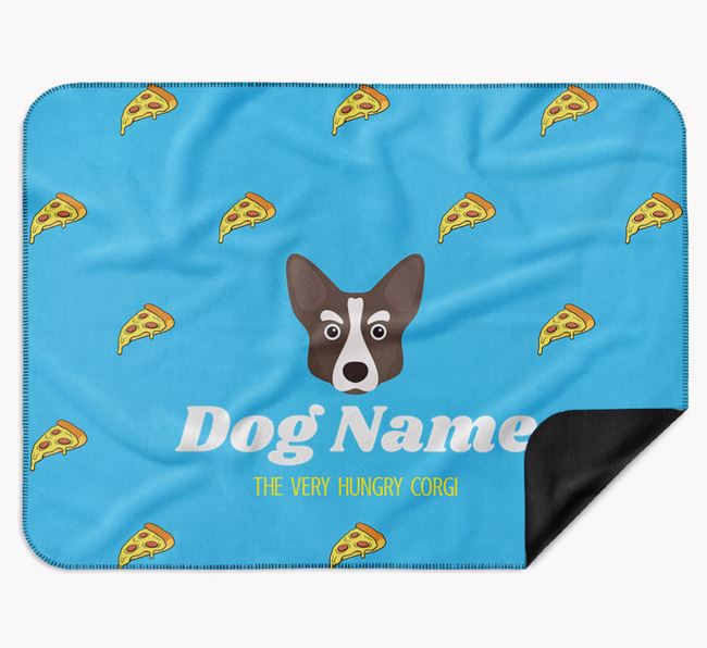 Personalised 'The Very Hungry Corgi' Blanket with Pizza Print