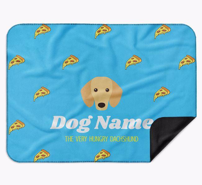 Personalised 'The Very Hungry Dachshund' Blanket with Pizza Print