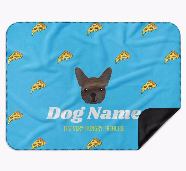 Personalised 'The Very Hungry French Bulldog' Blanket with Pizza Print