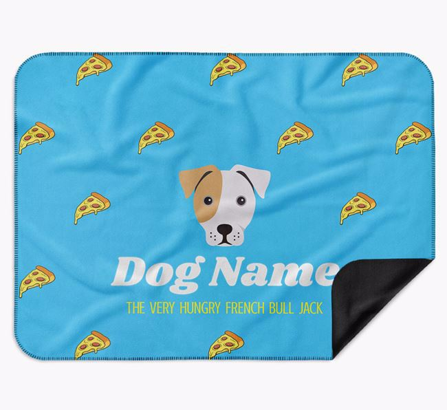 Personalised 'The Very Hungry French Bull Jack' Blanket with Pizza Print