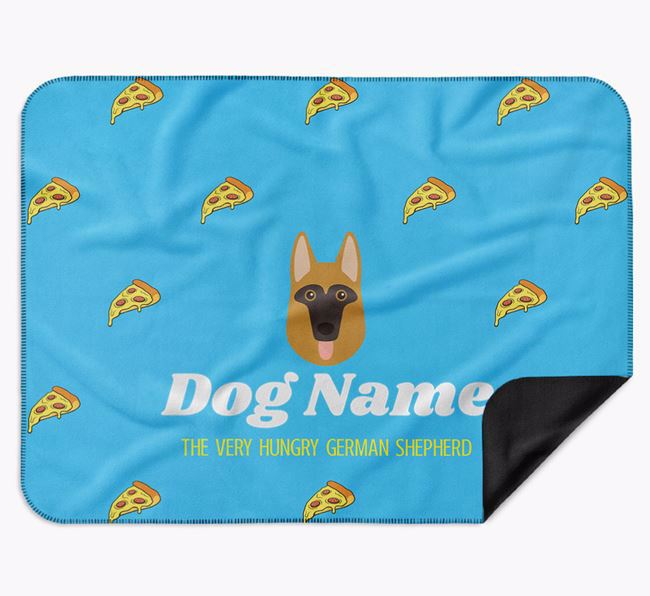 Personalised 'The Very Hungry German Shepherd' Blanket with Pizza Print