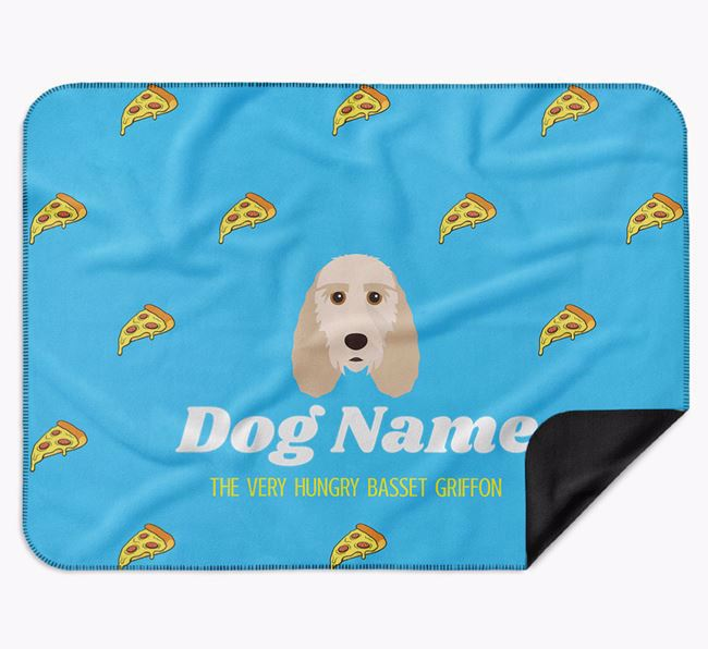 Personalised 'The Very Hungry Grand Basset Griffon Vendeen' Blanket with Pizza Print
