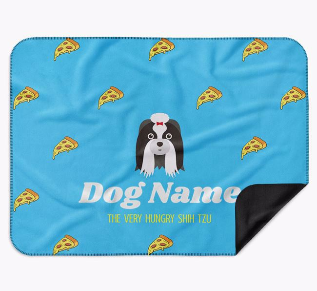 Personalised 'The Very Hungry Shih Tzu' Blanket with Pizza Print