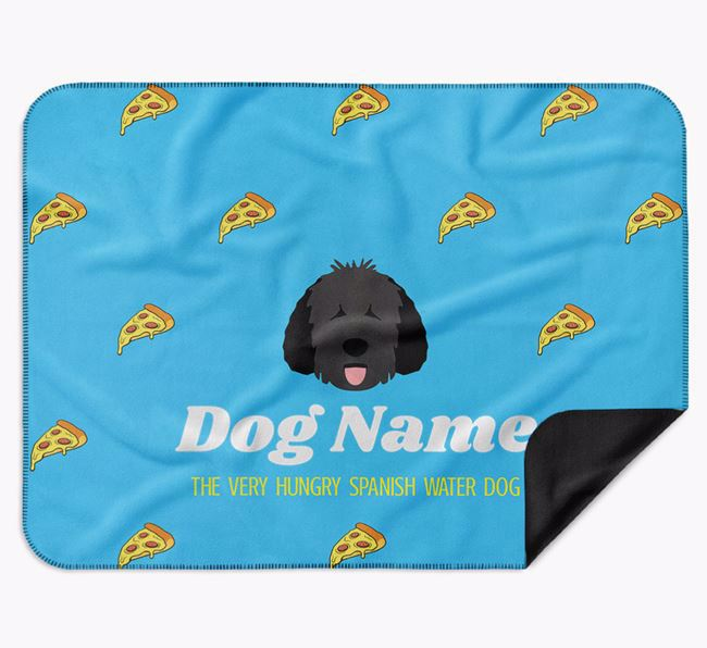 Personalised 'The Very Hungry Dog' Blanket with Pizza Print