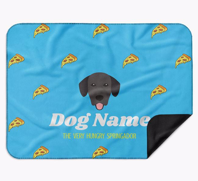Personalised 'The Very Hungry Springador' Blanket with Pizza Print