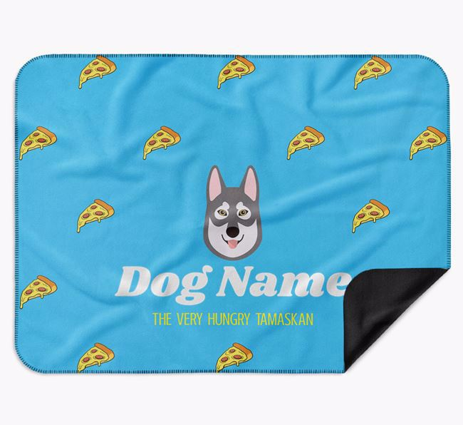 Personalised 'The Very Hungry Tamaskan' Blanket with Pizza Print