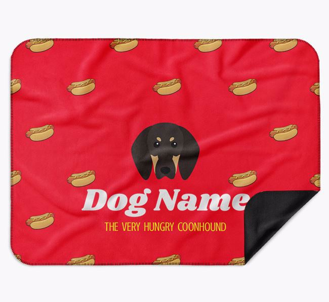 Personalised 'The Very Hungry Black and Tan Coonhound' Blanket with Hot-Dog Print