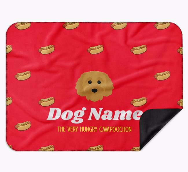Personalised 'The Very Hungry Cavapoochon' Blanket with Hot-Dog Print