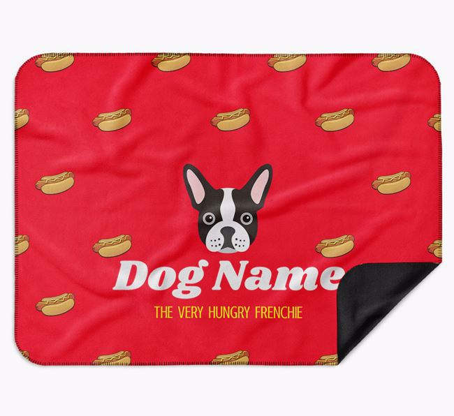 Personalised 'The Very Hungry French Bulldog' Blanket with Hot-Dog Print