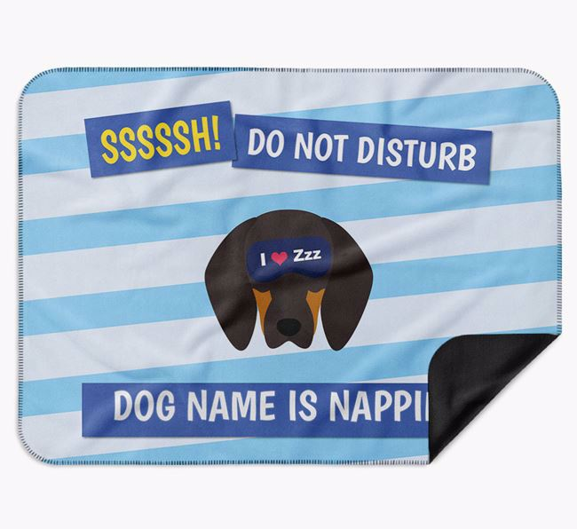 Personalised 'Do Not Disturb' Blanket for your Black and Tan Coonhound