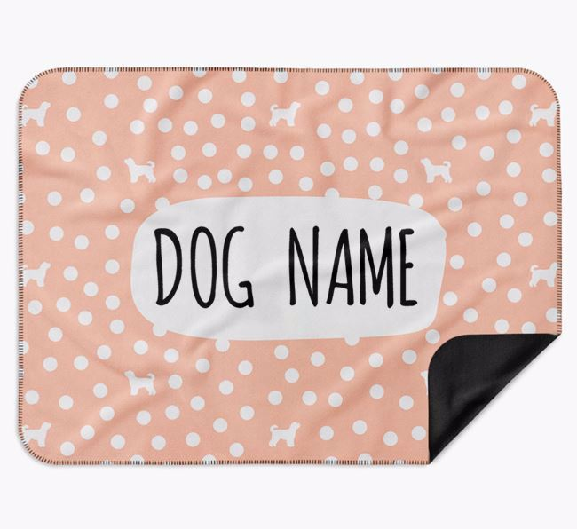 Personalised Spotty Blanket with Cavapoochon Silhouettes