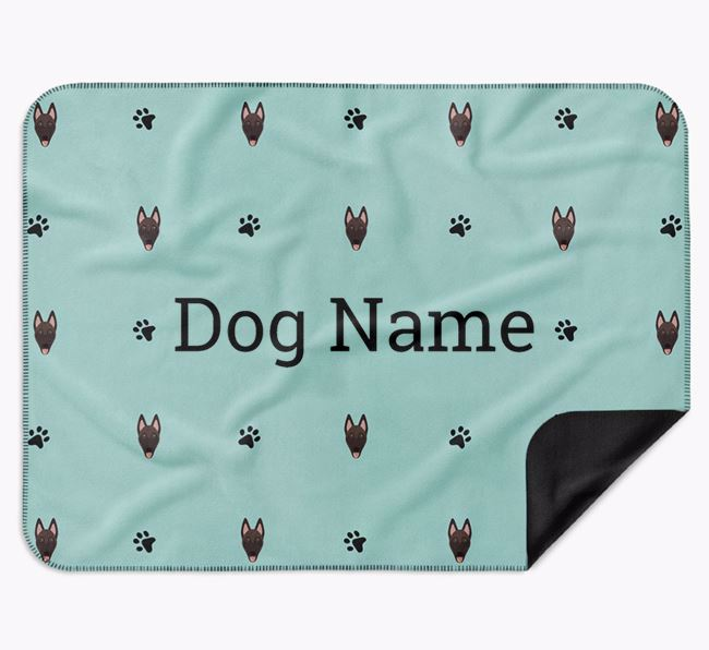 Personalised Blanket with Belgian Malinois Icon Print